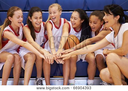 Coach Of Female High School Basketball Team Gives Team Talk