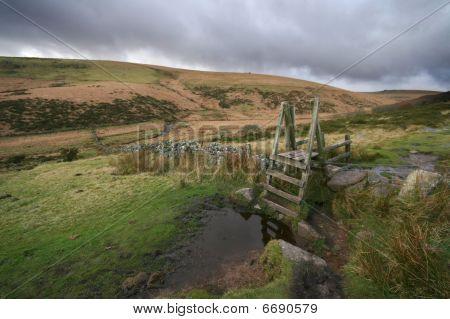 A Stile Over A Granite Hedge Dartmoor Devon