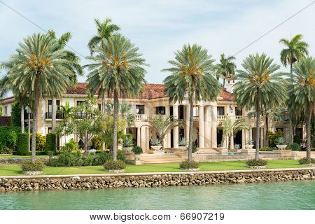 Luxurious mansion on Star Island in Miami, an artificial island in Biscayne Bay and the home of many rich and famous people
