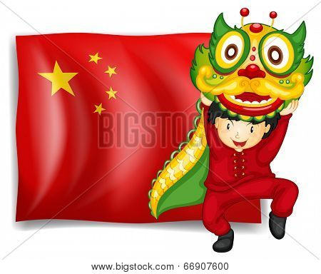 Illustration of a boy doing the dragon dance in front of the flag of China on a white background