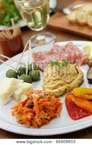 homemade assortment of appetizers, antipasto platter
