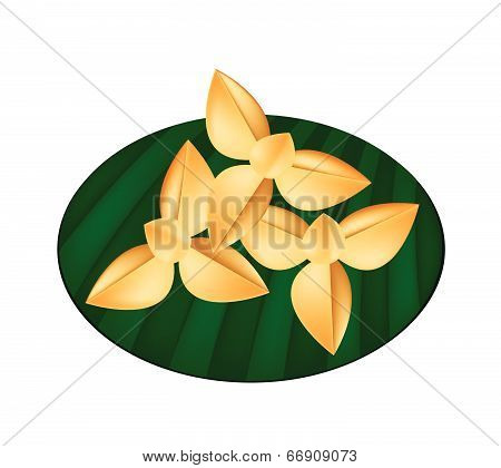 Delicious Thai Shortbread Cookies On Green Banana Leaf