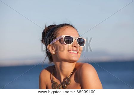 happy woman on summer beach vacation