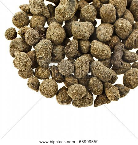 Ginseng Oolong Tea,   LAN GUI REN   close up macro shot top view isolated on white
