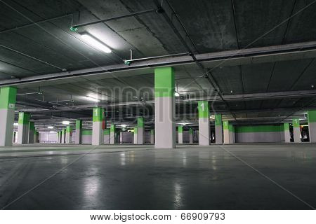 Airport Parking garage underground, industrial interior.