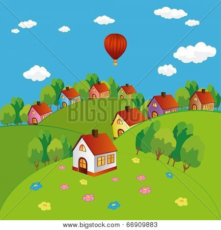 Vector background summer village