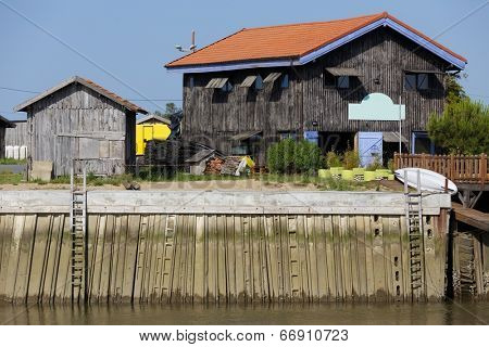 Oyster farm in Arcachon bassin at low tide, Gironde, France