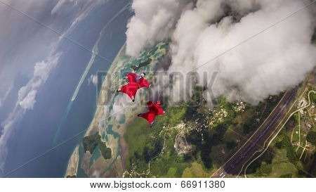 Wingsuit Flying Over Palau