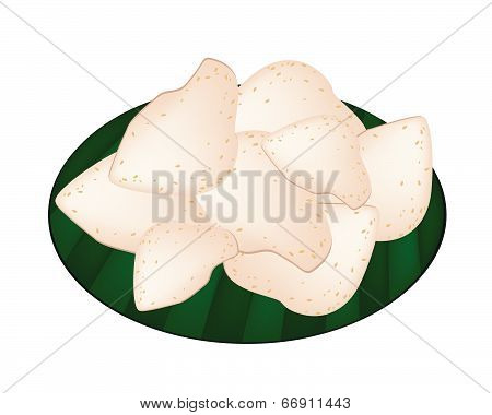 Thai Rice Crackers On Green Banana Leaf