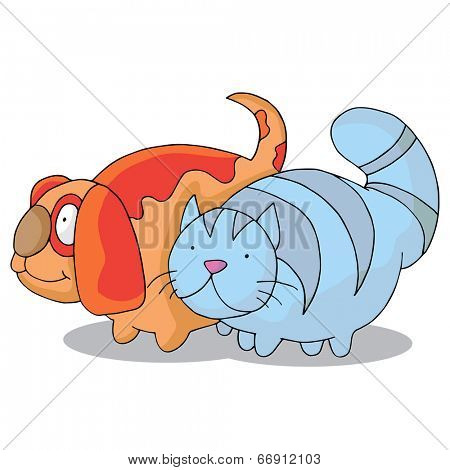 An image of an overweight cat and dog.