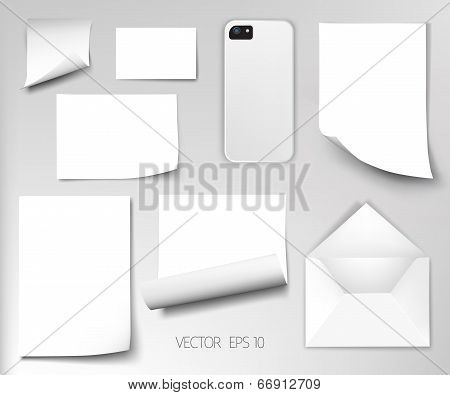Vector sheets of paper wrapped template design