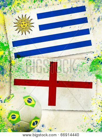 Uruguay vs England soccer ball concept