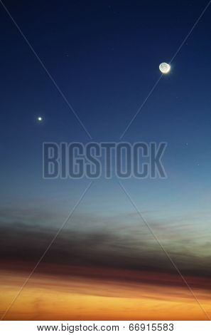 Planet Venus and Moon in a dusk sky