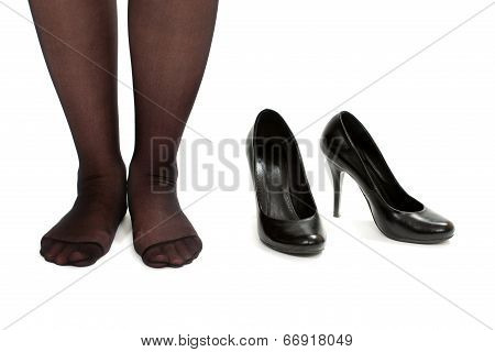 Women Bare Legs And Shoes