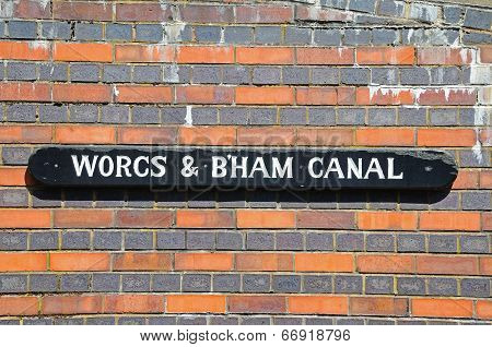 Worcester and Birmingham canal sign.