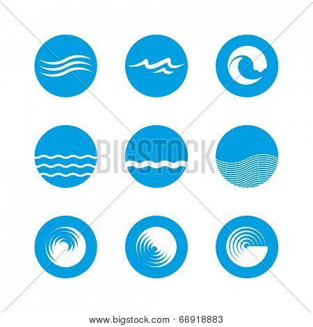 Wave Icon Set - Ocean, Sea, Beach