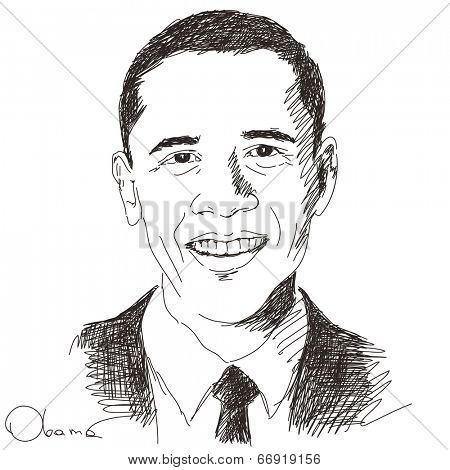 June 19, 2014 - Barack Obama president of United States. Hand drawn portrait, Vector illustration