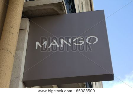 LISBON, PORTUGAL - MAY 29, 2014: A Mango sign in Lisbon. Mango is a clothing design and manufacturing company based in Barcelona, Spain with over 8,600 employees.