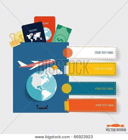 International passport and elements of travel. Business working elements for web design, seo optimizations, mobile applications, social networks. Modern Flat design vector illustration concept.