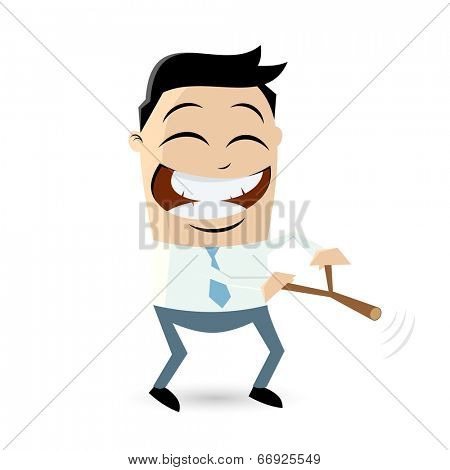 funny businessman with dowsing