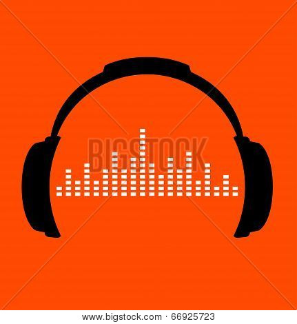headphones icon with sound wave beats. Vector flat illustration.