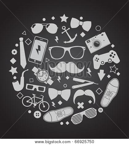 Set of fashionable men's accessories. vector illustration backdrop