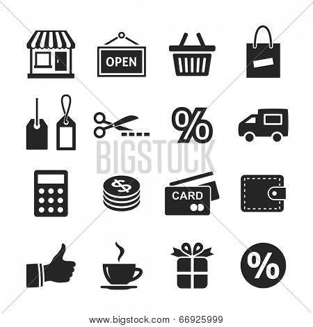 Shopping Icon Set. Simplus series. Raster version