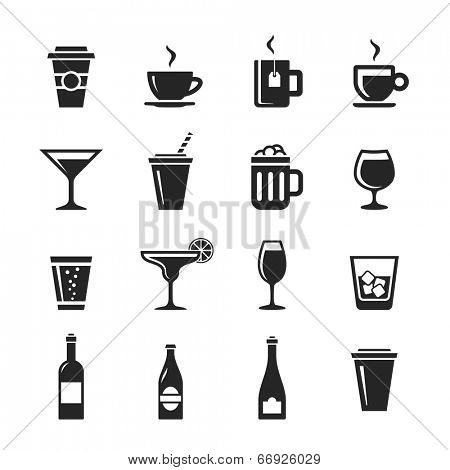Drinks and beverages icon set. Simplus series. Raster illustration