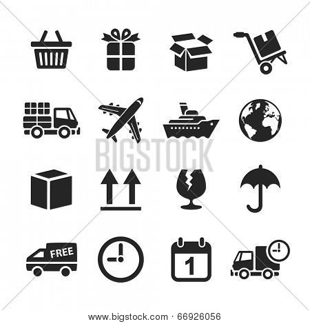 Logistic & delivery icons. Raster illustration. Simplus series