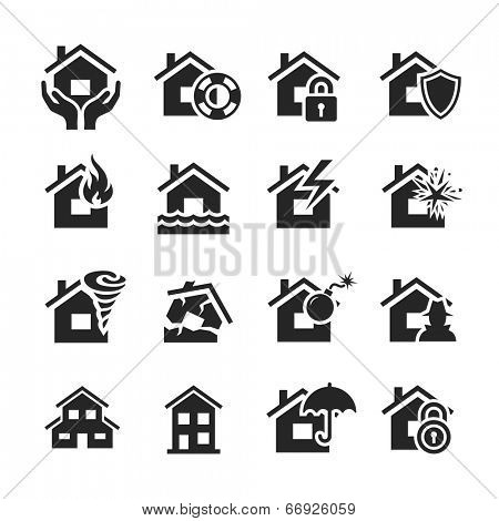 Property insurance icon set. Raster illustration. Simplus series