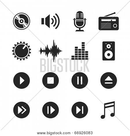 Music and sound icons. Raster version. Simplus series