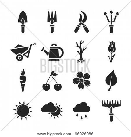 Gardening Icons Set. Raster illustration. Garden tools. Simplus series