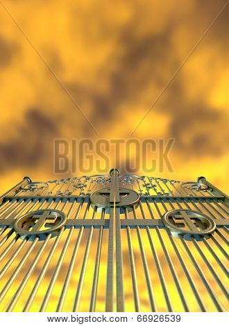 Heavens Golden Gates And Yellow Sky