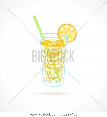 Orange Cocktail With Tubule And Orange Slice. Ink Vector Illustration