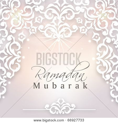 Beautiful floral design decorated background with stylish text Ramadan Mubarak on shiny grey background.