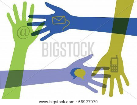 Hands With Communication Icons