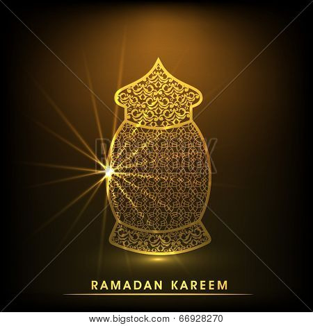 Golden floral decorated traditional lantern on shiny brown background for holy month of Ramadan Kareem.