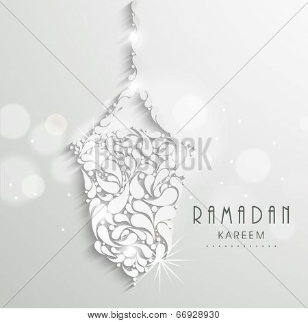 Hanging floral design decorated arabic lantern, creative greeting card design for holy month of Muslim community Ramadan Kareem.