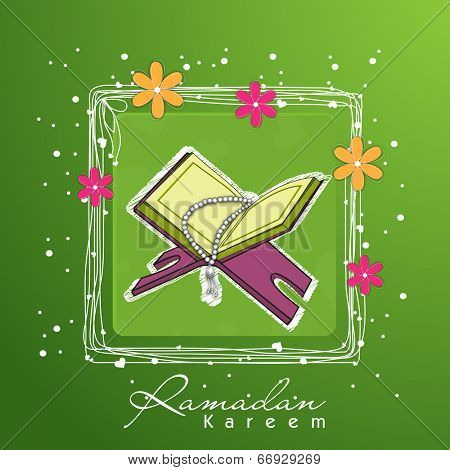 Open Islamic religious holy book Quran Shareef with praying mantis in floral decorated square frame on shiny green background.