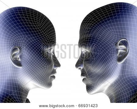 High resolution concept or conceptual blue 3D wireframe human male or female head isolated on white background