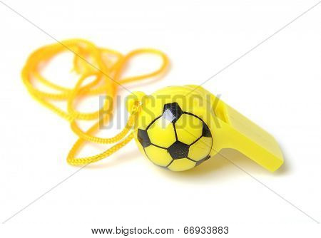 football shape whistle on white background.