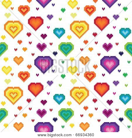 Seamless retro pixel heart pattern