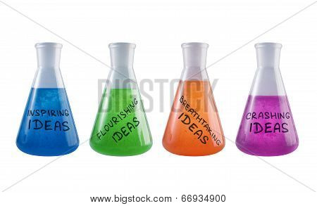 Set Of Conceptual Flasks With Creative Reagents