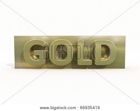 Gold icon on white background. 3d precious metal.