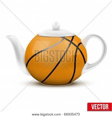 Ceramic Teapot In Basketball Ball Style. Football Vector Illustration.
