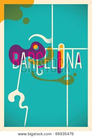 Abstract Barcelona poster in color. Vector illustration.