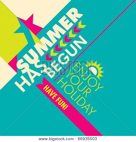 Illustrated summer background with colorful design. Vector illustration.
