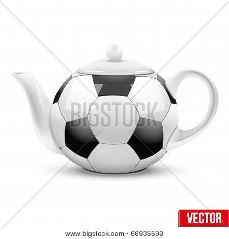 Ceramic Teapot In Soccer Ball Style. Football Vector Illustration.