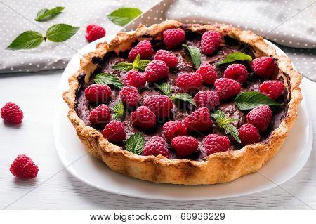 Chocolate Tart With Raspberry