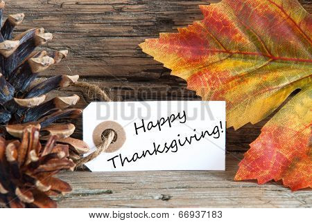 Autumn Label With Happy Thanksgiving